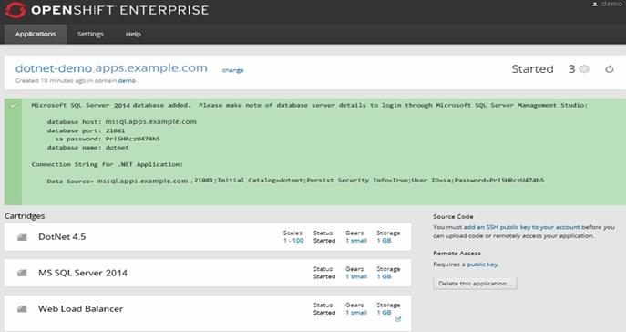 click2cloud openshift console to create applications -Add MSSQL Server 2014 Cartridge - Success.jpg