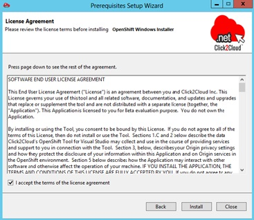 Installing Red Hat OpenShift Environment using Click2Cloud Auto Script - Install Win Node - Agreement.jpg